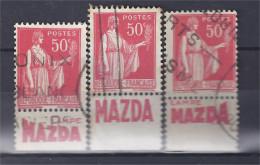 France - Carnets - Pub - Paix 50 C Rouge - Yvert N° 283 - Type I - MAZDA - Lot De 3 - Oblitérés - Advertising