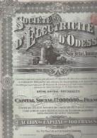 ACTION ILLUSTREE 100 FRANCS - SOCIETE D'ELECTRICITE D'ODESSA  - ANNEE 1913 - Elektrizität & Gas