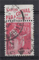 France - Carnets - Pub - Paix 50 C Rouge - Yvert N° 283 - Type IV - FER A CHEVAL - Savon - Oblitéré - Publicités