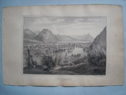 (Suisse, Oberland) Unterseen. Lithographie De WAGNER, Vers 1845. - Lithographies