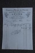 Facture Ancienne, LYON - Chefs Et Têtes De Pièces, Dorure Sur Etoffe ,LYONS. - 1800 – 1899