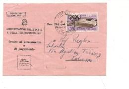 6614 Avviso Ricevimento Ricevuta Ritorno 1960 Olimpiadi Isolato £25 - 6. 1946-.. Repubblica