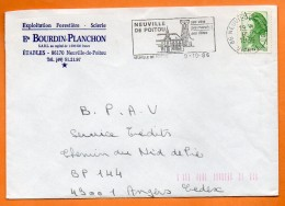 86 NEUVILLE DE POITOU   SES VINS   9 / 10 / 1986  Lettre Entière  N° U 875 - Storia Postale