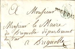 PARIS - 60 / P.P. - PORT PAYE - LETTRE DE PARIS POUR LE MAIRE DE BRIGNOLLE - TAXE 10 MANUSCRITE AU VERSO. - Marcophilie (Lettres)