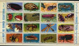 Equatorial Guinea, 1976,  Beetles, Sheetlet Minisheet - Farfalle