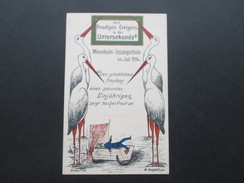 AK / Künstlerkarte 1914 Störche. Zum Freudigen Ereignis In Der Untersekunda. Mannheim Lessingschule. Studentika / Schule - Schulen