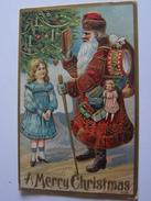 PERE NOEL DONNANT UN CADEAU A UNE FILLETTE JOUETS TAMBOUR POUPEE MOUTON...GAUFREE A MERRY CHRISTMAS - Kerstmis