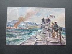 AK / Künstlerkarte 1917 Willy Stöwer. U-Boot Spende. Bordkanone / Reichskriegsflagge./ Marine - Stoewer, Willy