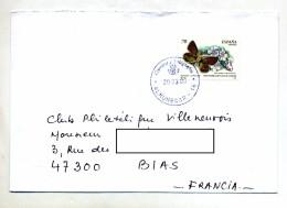 Lettre Cachet Almenecar Sur Papillon - Marcophilie - EMA (Empreintes Machines)