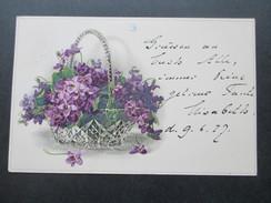 AK / Blumenkorb 1917 Lila Blumen. Blauer Stempel; Straßburg Geprüft Und Zu Befördern. Kehl - Blumen