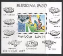 1994 Burkina Faso  World Cup Football USA Architecture Stadiums Complete Set Of 2 Stamps & Souvenir Sheet MNH - Burkina Faso (1984-...)