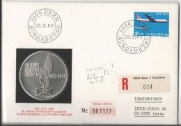 FDC Recommandé Timbre Avion 2frs, 50 Jahre Schweizer Flugpost + Silber-Médaille (12.2.69) - FDC