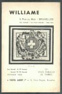 Catalogue De Vente Publique WILLIAME N°111 - Vente De Février 1958, Bruxelles, 32 P. + 7 Pl. - MX012 - Catalogues De Maisons De Vente