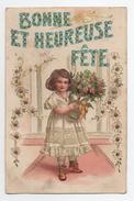 Illustrée Enfant Fille - Poupée Fleurs Gaufrée Bonne Fête - Fêtes - Voeux