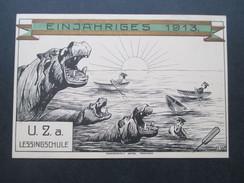 Künstlerkarte Schule / Abitur 1913 Studentika. Einjähriges. U.Z.a. Lessingschule. Tuschezeichnung. Nilpferde, Ruderboote - Schulen