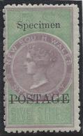 Nouvelle Galles Du Sud - N° 55 * - Neuf Avec Charnière - SPECIMEN - Dent. 12 / 10 - Mint Stamps