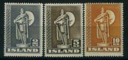 ISLANDE ( POSTE ) : Y&T N°  186/188  TIMBRES  NEUFS  AVEC  TRACE  DE  CHARNIERE , A  VOIR . - 1918-1944 Administration Autonome