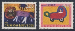 Jugoslavija Yugoslavia 1975 Mi 1615 /6 YT 1504 /5 ** Children´s Paintings / Kinderzeichnungen - Baby In Pram, Lion - Kindertijd & Jeugd