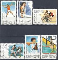 1989 LAOS 913-18** J.O Barcelone, Cyclisme, Tir à L Arc, Boxe - Laos