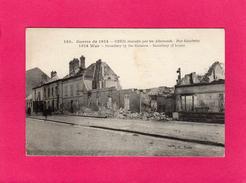 60 OISE, CREIL Incendiée Par Les Allemands, Rue Gambetta, Animée, Guerre De 1914, (L'H.) - Guerra 1914-18