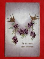 Cpa Fantaisie Gauffree  Hirondelles, Fleurs, Dorure - Autres