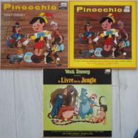 Lot 3 Livre Disque Disney PINOCCHIO LE LIVRE DE LA JUNGLE Sans Les 33 Tours - Accessoires, Pochettes & Cartons