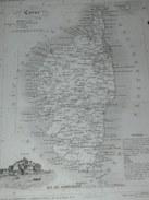 "ATLAS DEPARTEMENTAL / 1830 / 1 GRAVURE  "" CORSE ""  AJACIO BASTIA CALVI CORTE SARTENE / EDITEURS ANDRIEUX BARRESWI - Geographische Kaarten"