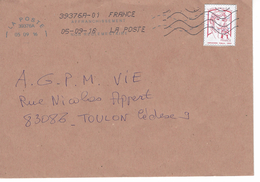 Timbre Marianne De Ciappa Sur Lettre .issus De PAP Oblitéré Affranchissement Non Réglementaire - Marcophilie (Lettres)