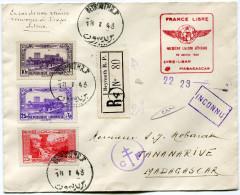 """LIBAN LETTRE RECOMMANDEE CENSUREE AVEC CACHET ROUGE """"FRANCE LIBRE PREMIERE LIAISON AERIENNE 22 JANVIER 1943 SYRIE-...."""" - Liban"""