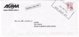 Timbre Marianne De Ciappa Sur Lettre . AP SPID 262 - Marcophilie (Lettres)