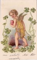 CPA Gaufrée Ange Angelot Angel Cupidon Trèfle Embossed Fantaisie Illustrateur - Anges