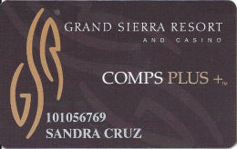 Grand Sierra Casino Reno, NV Slot Card - Tan Plus -  Reverse Text Aligned Left - Casino Cards