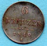 R18/  AUSTRIA / AUTRICHE 6 Kreuzer 1849 A  Silver / Argent - Austria