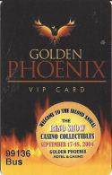 Golden Phoenix Casino Reno, NV - Slot Card - Bus Card With Yellow Sticker - Casino Cards