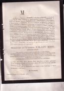 LEUTH LIMBOURG Vicomte VILAIN XIII 76 Ans 1878 Ministre D'Etat Ancien Gouverneur Flandre Orientale Congrès National - Overlijden