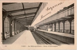 Cpa 75 PARIS  Le Métropolitain  Gare D'Allemagne (devenue Station Jaurès En 1914) Rame En Gare Direction Nation - Subway