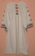 WOMAN LONG SHIRT. NEEDLE WORK, BEADS, SEQUINS, CARNATION FLOWERS, SOUTH SERBIA. UNIQUE. - Vintage Clothes & Linen