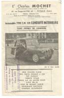 Flyer Automobile Type C.M. 125 CONDUITE INTERIEURE SANS PERMIS DE CONDUIRE - Voitures De Tourisme