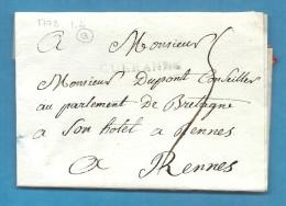 Loire Inférieure - Guérande Pour Rennes (Ille Et Vilaine). MP Lenain N°2. 1778. Cote 100e - Marcophilie (Lettres)
