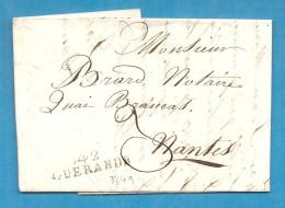 Loire Inférieure - Guérande Pour Nantes.  LAC Ecrite Au Croisic. MP 42/GUERANDE. 34-35x9.  NON REFERENCEE - 1701-1800: Précurseurs XVIII