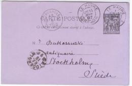 France Sweden Sverige 1887 Canceled In Le Harve, Stockholm - France