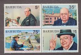 BARBUDA Block Of 4 Perf  30TH Anniv Centenary Of Birth Churchill - Sir Winston Churchill