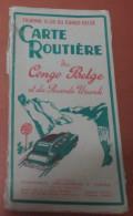Carte Routière Du Congo Belge Et Du Ruanda Urundi - Touring Club Du Congo Belge - Patesson - Carte Stradali