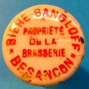 BOUCHON EN PORCELAINE BIERE GANGLOFF BESANCON PROPRIETE DE LA BRASSERIE - Bière