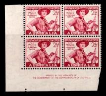 Australia 1948 Scout Jamboree 2.5d Imprint Block Of 4 (2 X MNH, 2 X MH) - 1937-52 George VI