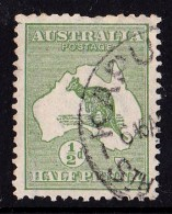 Australia 1913 Kangaroo 1/2d Green 1st Watermark Used  SG1 - - 1913-48 Kangaroos