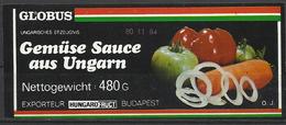 "Hungary,""Globus"", Gemüse Sauce Aus Ungarn, 1984. - Fruits & Vegetables"