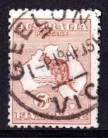 Australia 1913 Kangaroo 5d Chestnut 1st Watermark Used - GEELONG,  SG 8 - 1913-48 Kangaroos