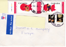 Canada Air Mail Letter To Hungary With Sumo Stamps - Martial