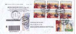 REPUBBLICA.ITALIA.BUSTA.STORIA POSTALE..PUBBLICITà.BLOCCO DI SEI.REGGIO EMILIA.AFFRANCATURA MISTA..5534 - 6. 1946-.. Republic